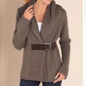 Soft Surroundings Mocha Belted Cardigan Sweater